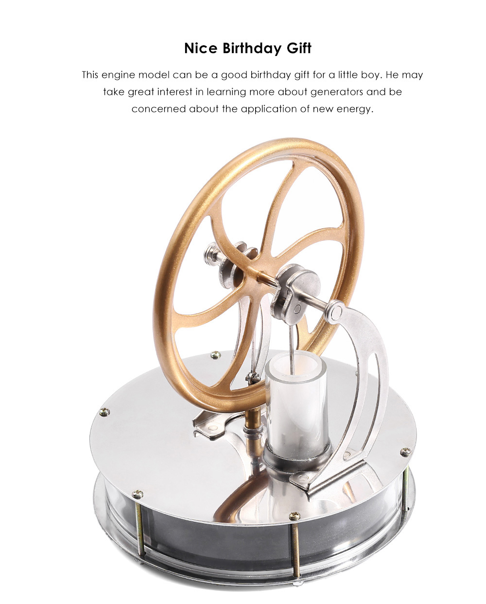 Focalprice Thermal-powered Stirling Engine Model with High RPM Two Cylinders