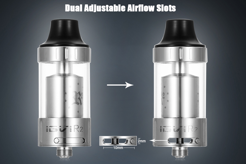 Original YOSTA IGVI R2 RTA with 3ml / Two Posts Velocity-style Deck / Dual Bottom Adjustable Air Slots for E Cigarette