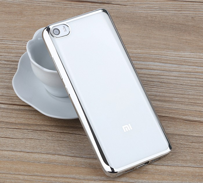 Luanke TPU Soft Protective Case for Xiaomi 5 Ultrathin Transparent Style Shell with Electroplated Edge