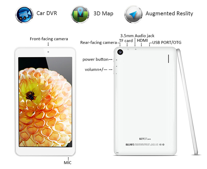CUBE U27GT Super Tablet PC Android 5.1 8.0 inch Screen MTK8163 Quad Core 1.3GHz 1GB RAM 8GB ROM Cameras WiFi GPS Bluetooth 4.0