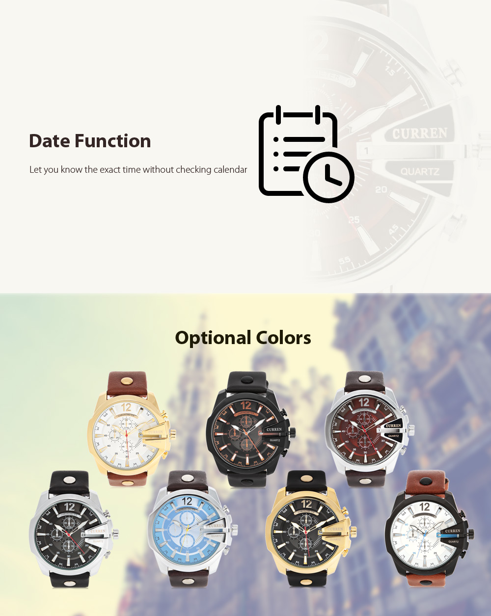 Curren 8176 Men Quartz Watch with Date Display Leather Band Decorative Sub-dials