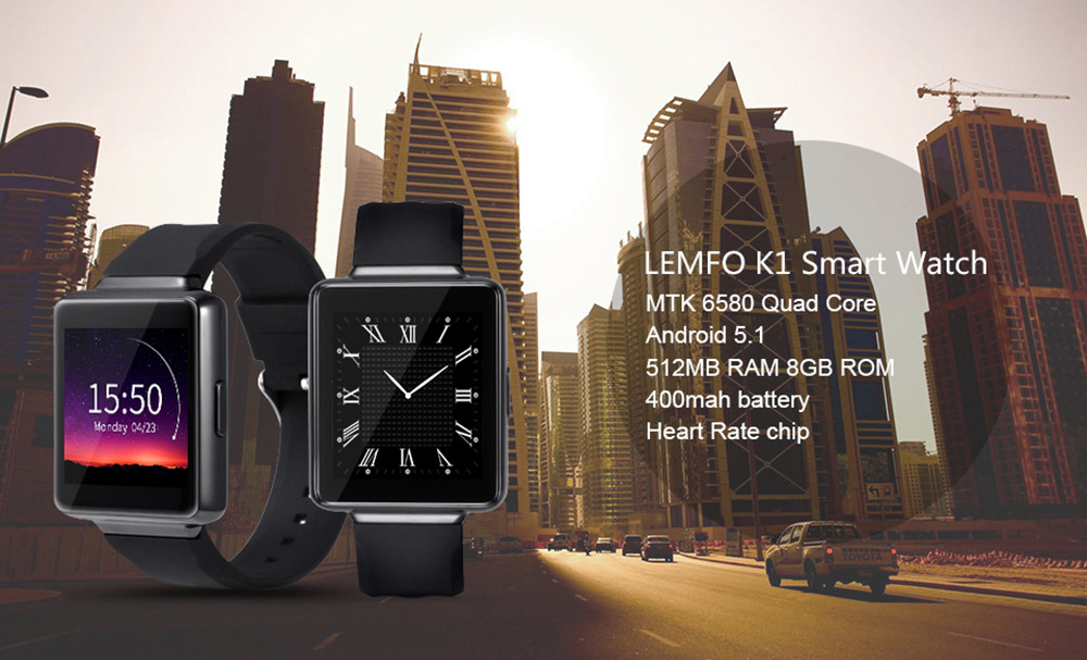 LEMFO K1 Android 5.1 1.54 inch HD IPS Screen 3G Smartwatch Phone MTK6580 Quad Core 1.3GHz 512MB RAM 8GB ROM Waterproof GPS Pedometer Recording