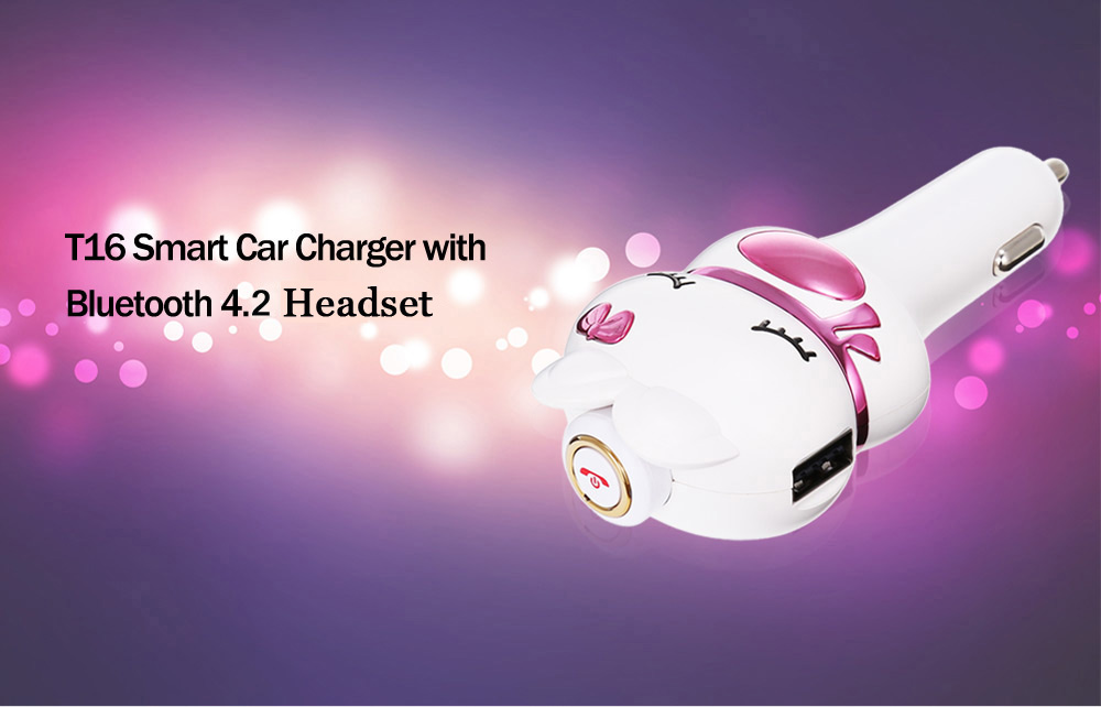 T16 Smart Car Charger with Bluetooth Headset Dual USB Interfaces