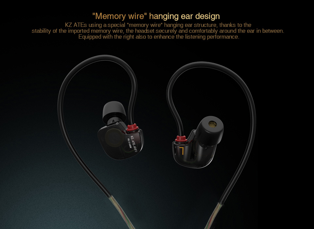 KZ ATE-S Super Bass In-ear Earphones 3.5mm Jack Sport Earhook Design with HiFi Microphone Foam Eartips