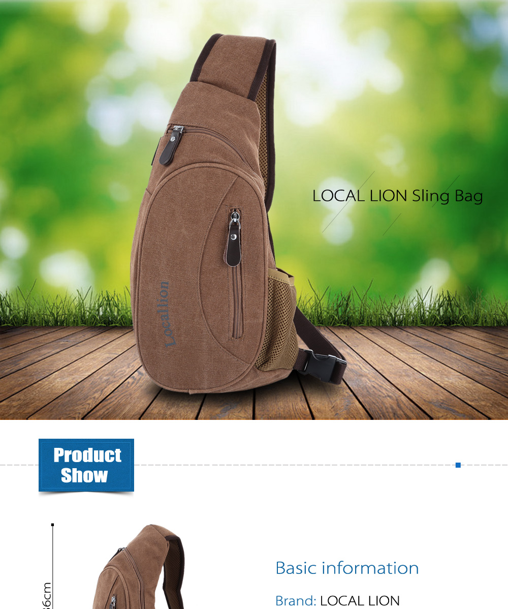 LOCAL LION 5L Water-resistant Polyester Leisure Sling Bag