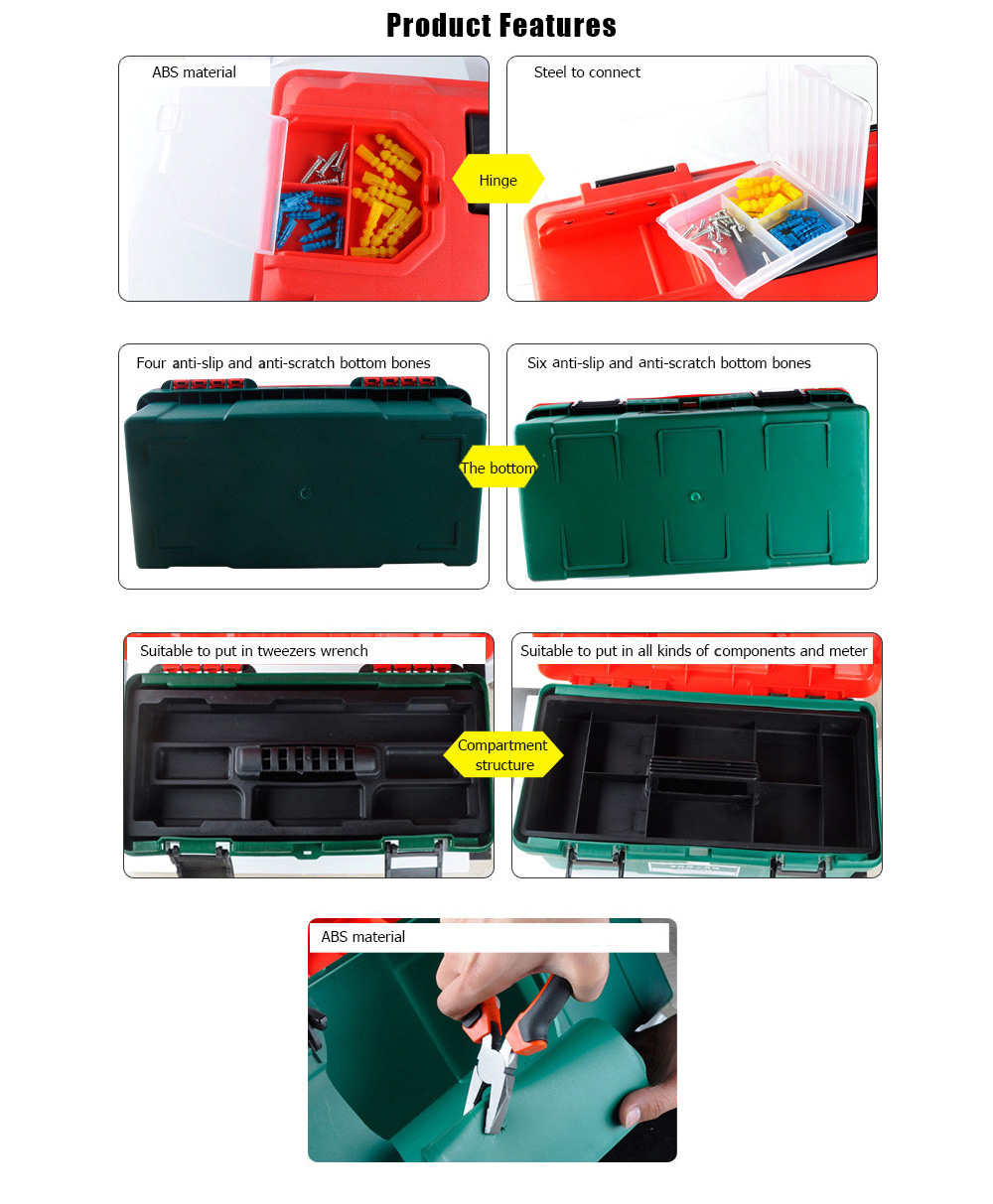ELECALL 1014 14 inch Intensive Household Portable Toolbox ABS Plastic Storage Box