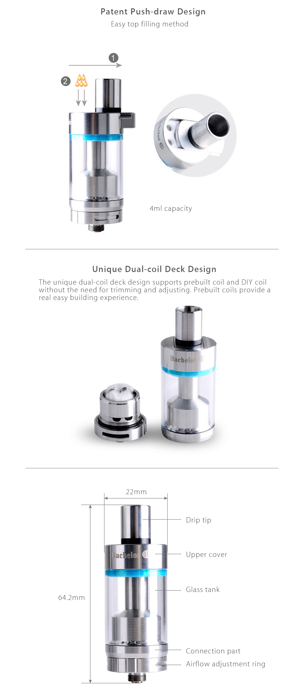Original EHPRO Bachelor Ⅱ RTA with 0.5 ohm / Top Filling / Bottom Air Flow / 4ml Capacity for E Cigarette