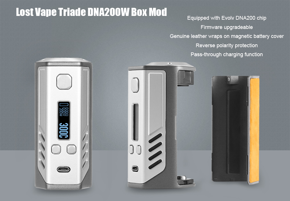 Original Lost Vape Triade DNA200W Box Mod Supporting Triple 18650 Battery / Genuine Leather Cover / Temperature Protection E Cigarette Mod