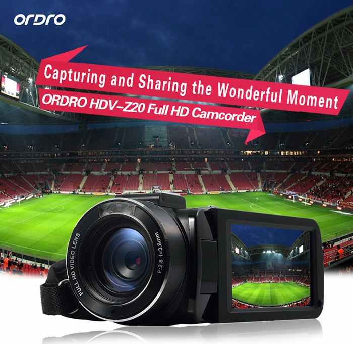 ORDRO HDV - Z20 WiFi 1080P 24MP 16X Digital Zoom F2.6 Aperture 3.0 inch TFT Touch Screen DV Camera