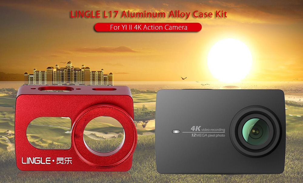 LINGLE L17 Protective Aluminum Alloy Housing Frame Cage with 37mm UV Lens Kits for YI II