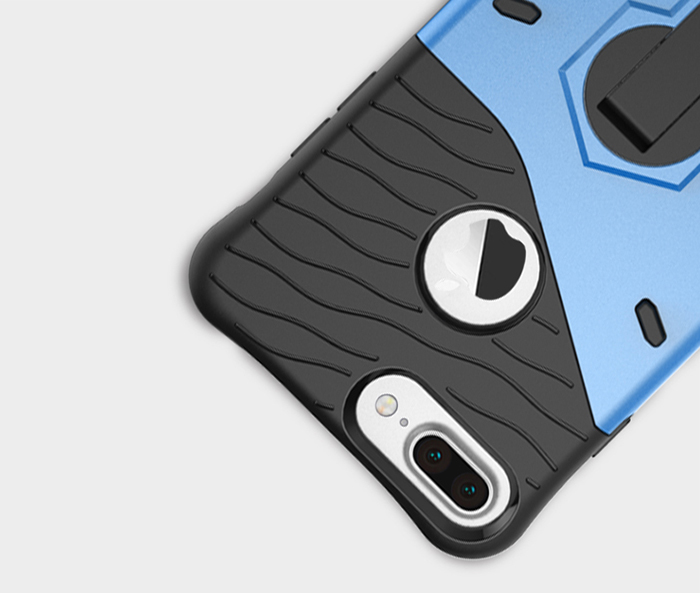 Luanke Silicone Protective Back Cover Case for iPhone 7 Plus with Phone Stand Holder