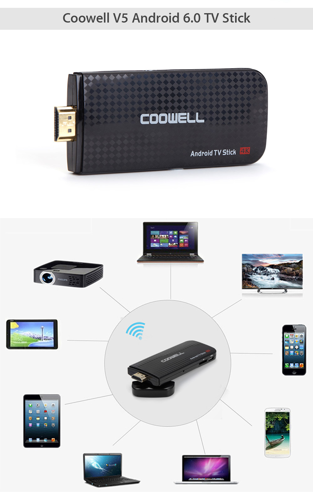Coowell V5 Android 6.0 TV Stick Amlogic S905X Quad-core 2.4G WiFi HDMI Streaming Media Player Support DLNA 3D Movie