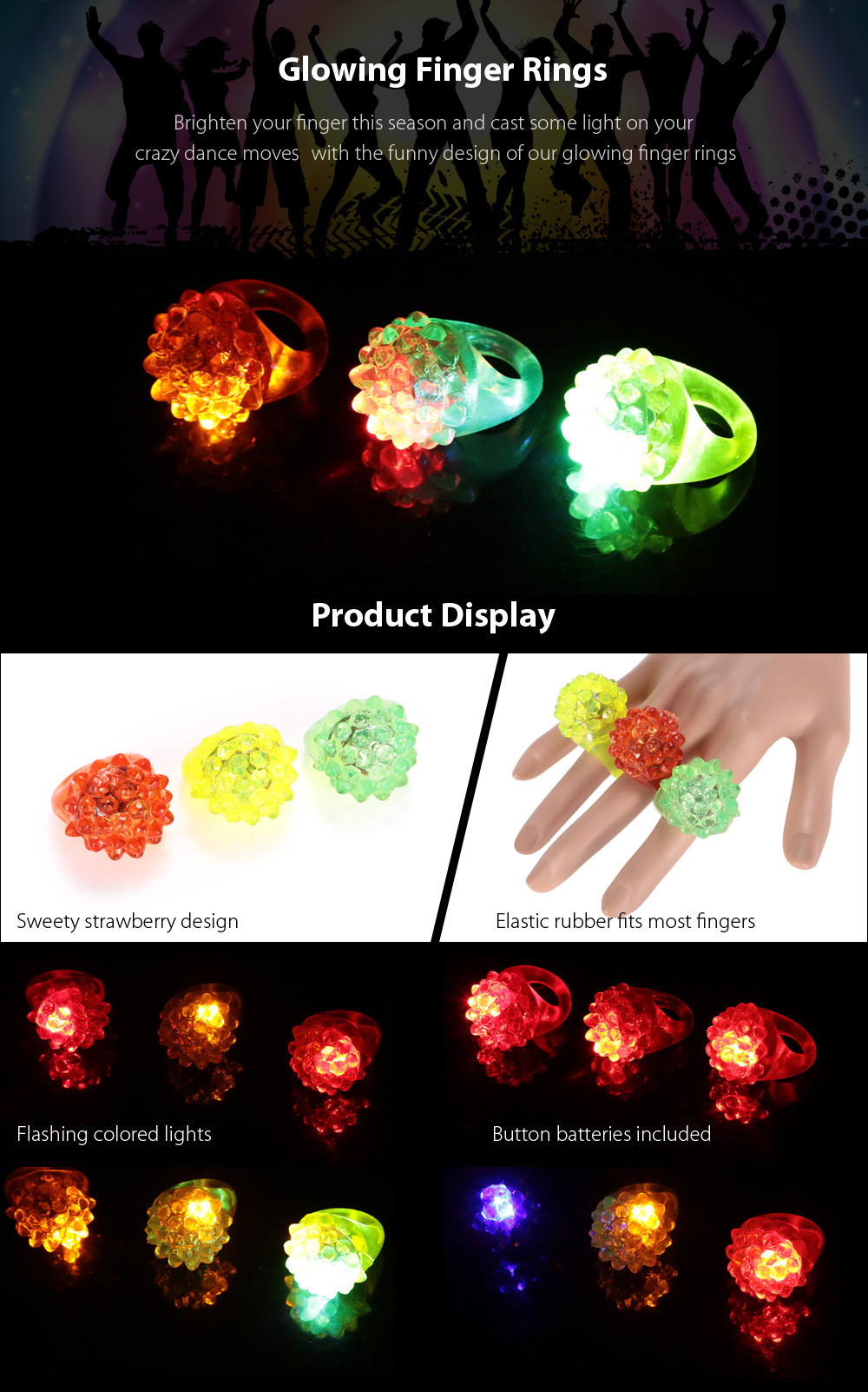 3PCS BRELONG Glowing LED Finger Ring Christmas Halloween Festival Decoration