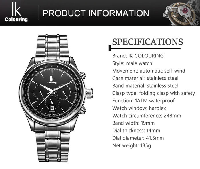 IK COLOURING Sports Male Automatic Mechanical Watch with Luminous Pointer