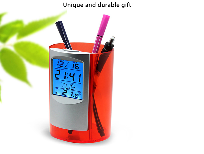 Multi-functional Electronic Pen Container with Clock Function