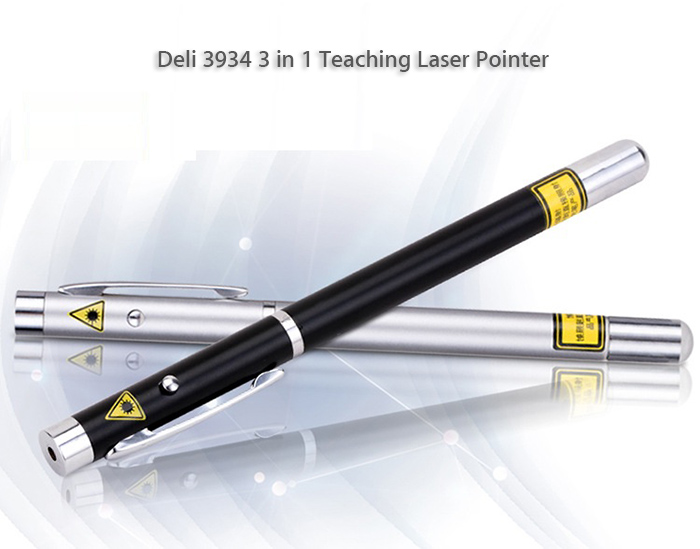 Deli 3934 3 in 1 Elastic Pen Teaching Laser Pointer