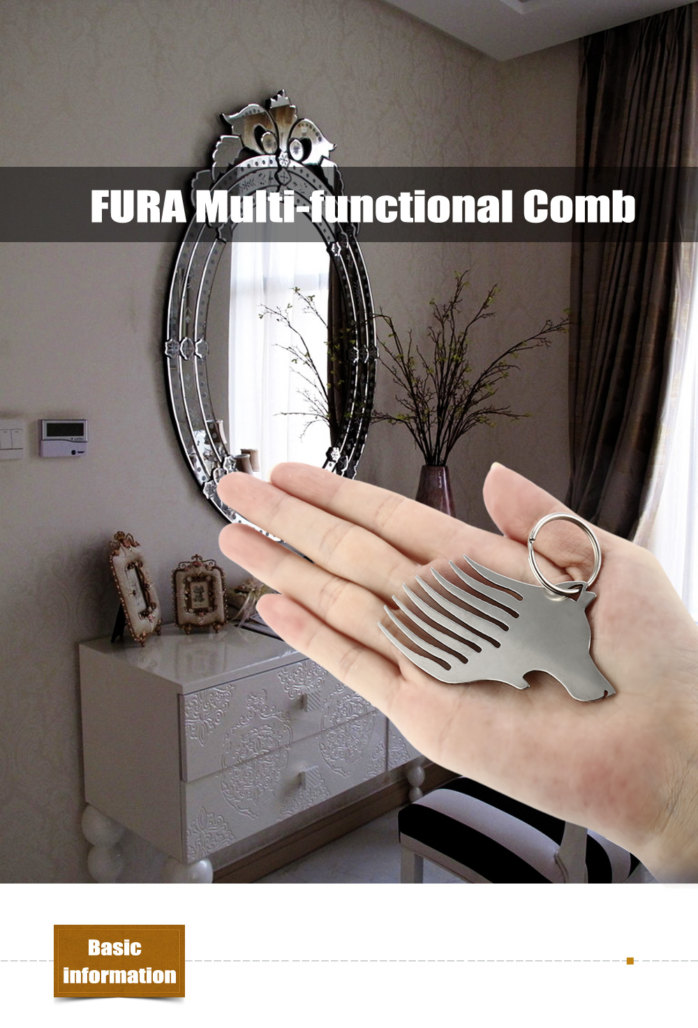 FURA Stainless Steel Multi-functional Comb / Bottle Opener with Key Ring
