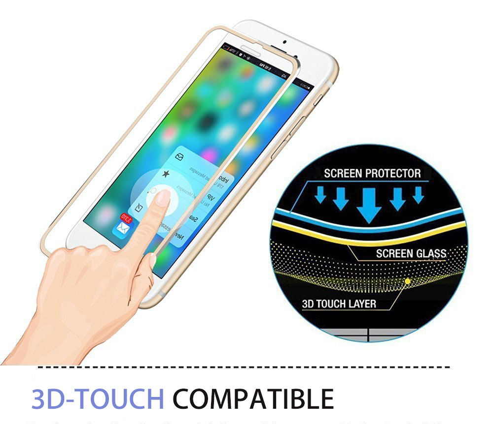 Hat Prince Aluminium Alloy Edge Tempered Glass Screen Film for iPhone 7 9H 3D Ultra-thin Explosion-proof Protector