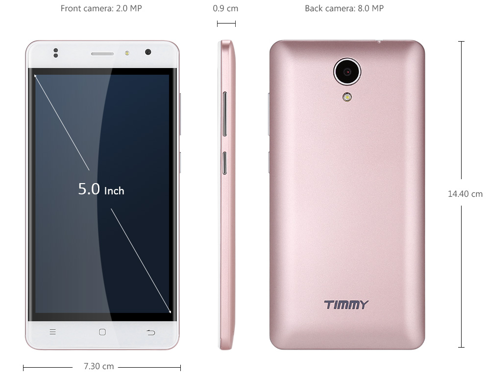 Timmy M23 Android 6.0 5.0 inch 4G Smartphone MTK6737 Quad Core 1.3GHz 1GB RAM 8GB ROM Bluetooth 4.0 GPS Smart Wake-up