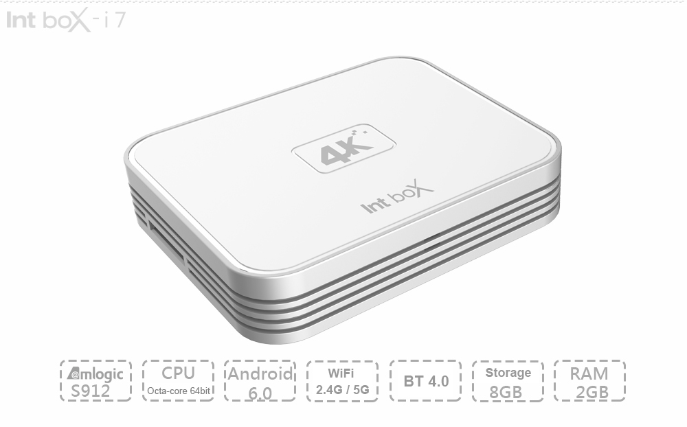 Intbox i7 TV Box Amlogic S912 Octa Core ARM Cortex-A53 Android 6.0 2.4G / 5G WiFi 802.11AC BT 4.0 4K x 2K