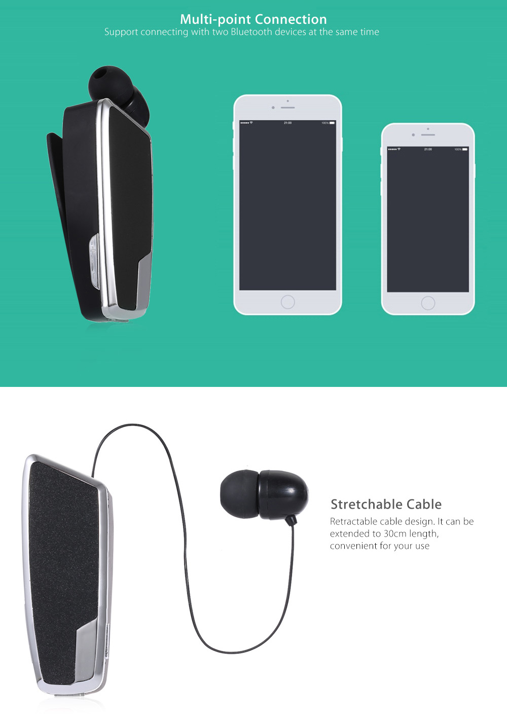 QP - 16 Clip Stretchable Wireless Bluetooth Business Headset Support Hands-free Calls Volume Control