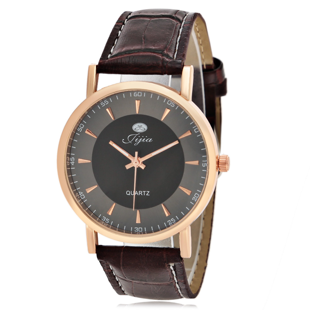 Jijia Business Quartz Watch with Double Scales Leather Band for Men