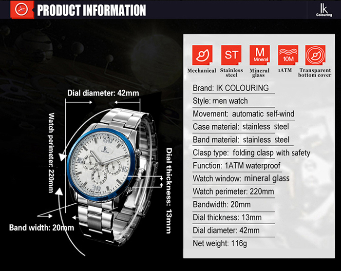 IK COLOURING 1174 Sports Automatic Mechanical Male Watch with Working Sub-dial
