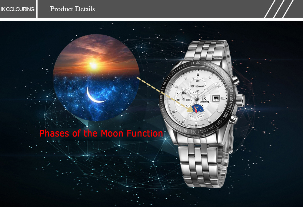 IK COLOURING 1172 Male Automatic Mechanical Watch with Phases of the Moon Function