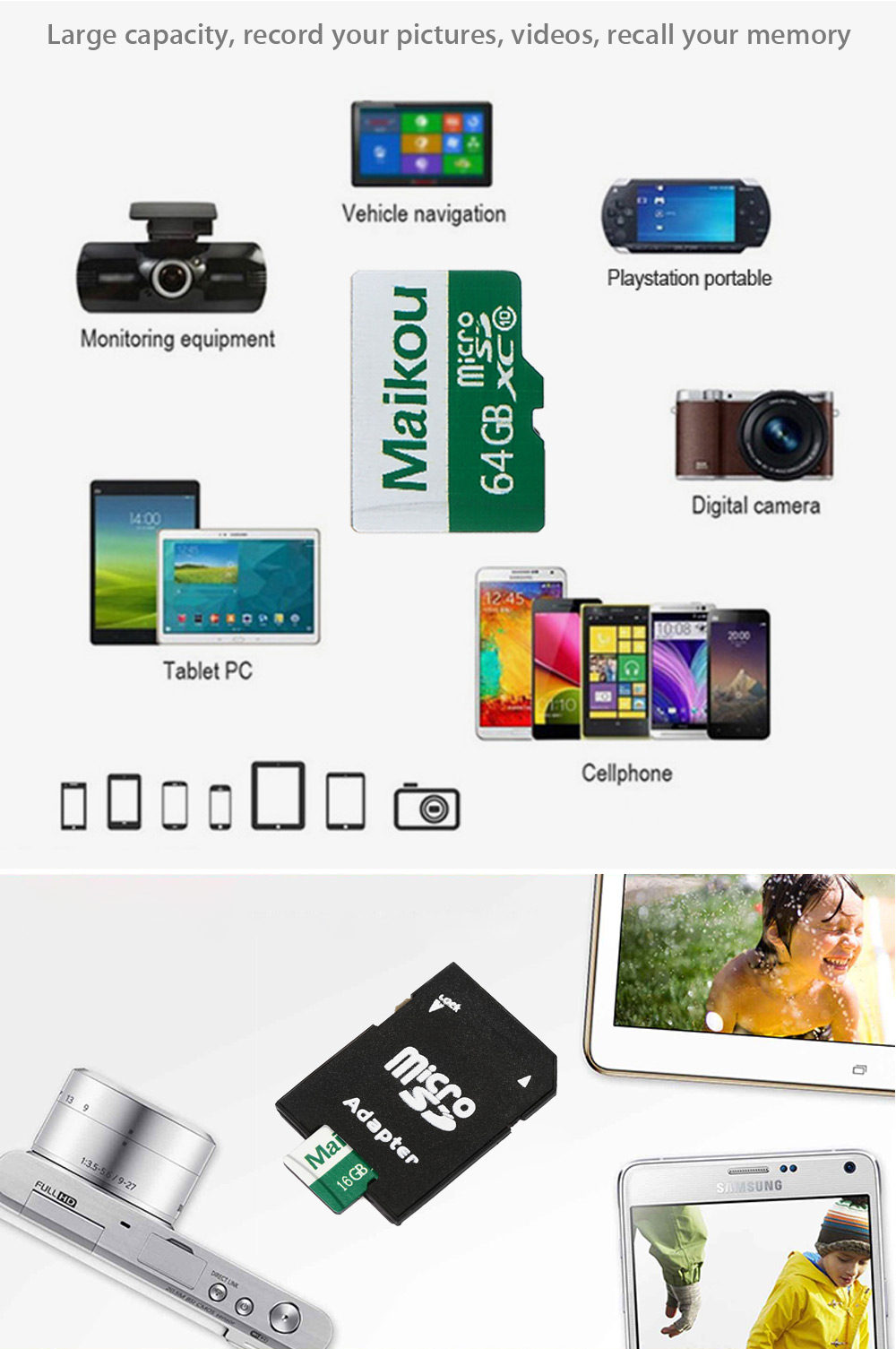 Maikou 2 in 1 16GB Micro SD Card + Adapter Data Storage Device