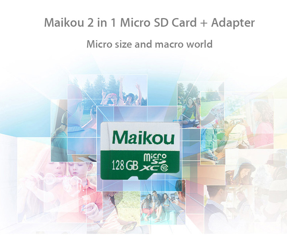 Maikou 2 in 1 64GB Micro SD Card + Adapter Data Storage Device