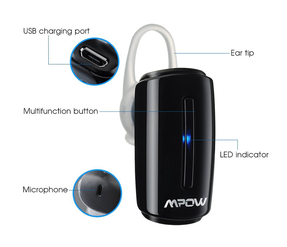 MPOW MBH9M Wireless Bluetooth Business Headset with Mic Hands-free Calls