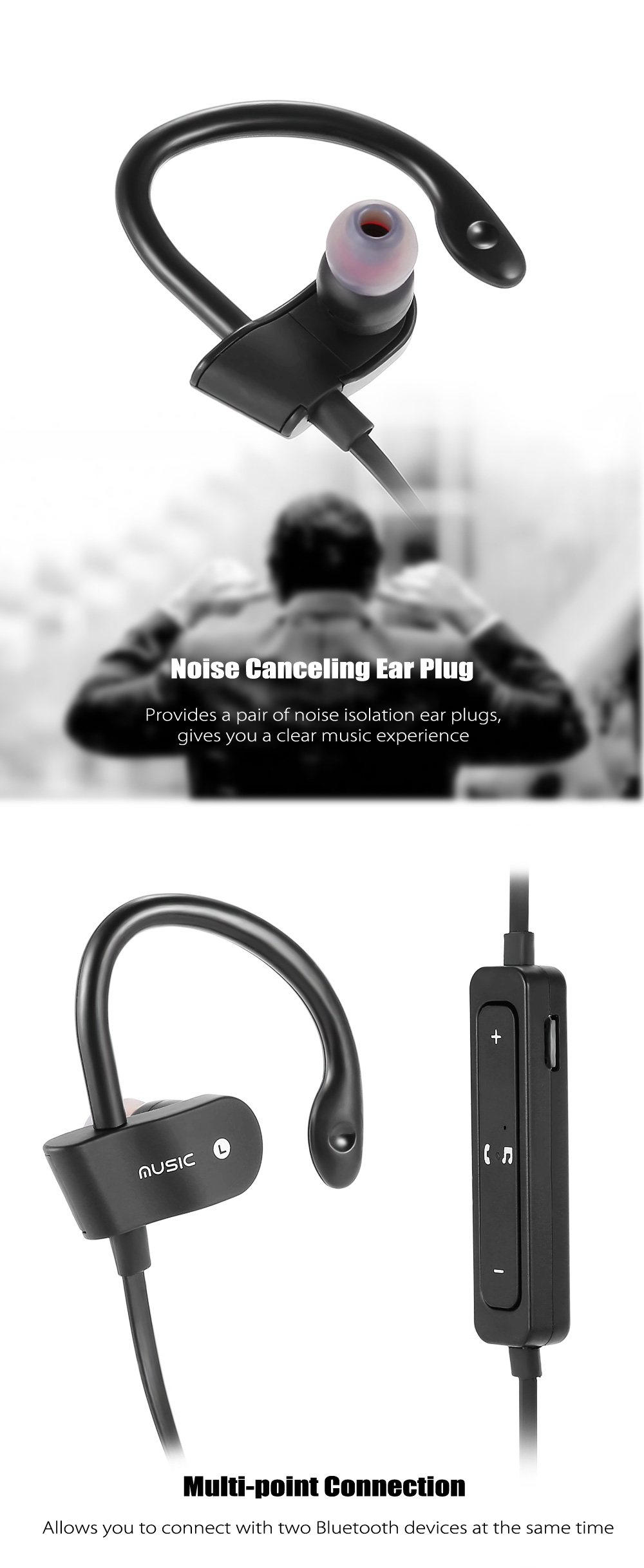 56S Wireless Bluetooth 4.1 Ear-hook Sports Earbuds In-line Control Volume Control Song Switch