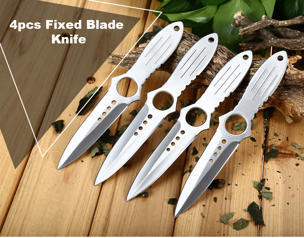 4pcs 4Cr13Mov Stainless Steel Double Edges Fixed Blade Knife with Storage Bag