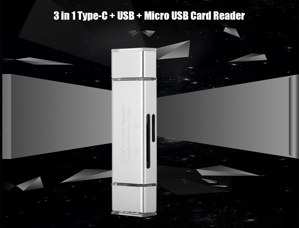 3 in 1 Type-C + USB + Micro USB OTG Card Reader Data Adapter with SD / TF Card Slot