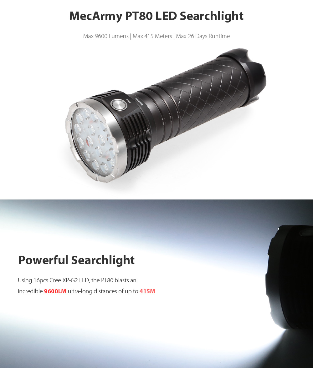 MecArmy PT80 16 x Cree XP - G2 9600Lm LED Searchlight 13600mAh Battery Pack