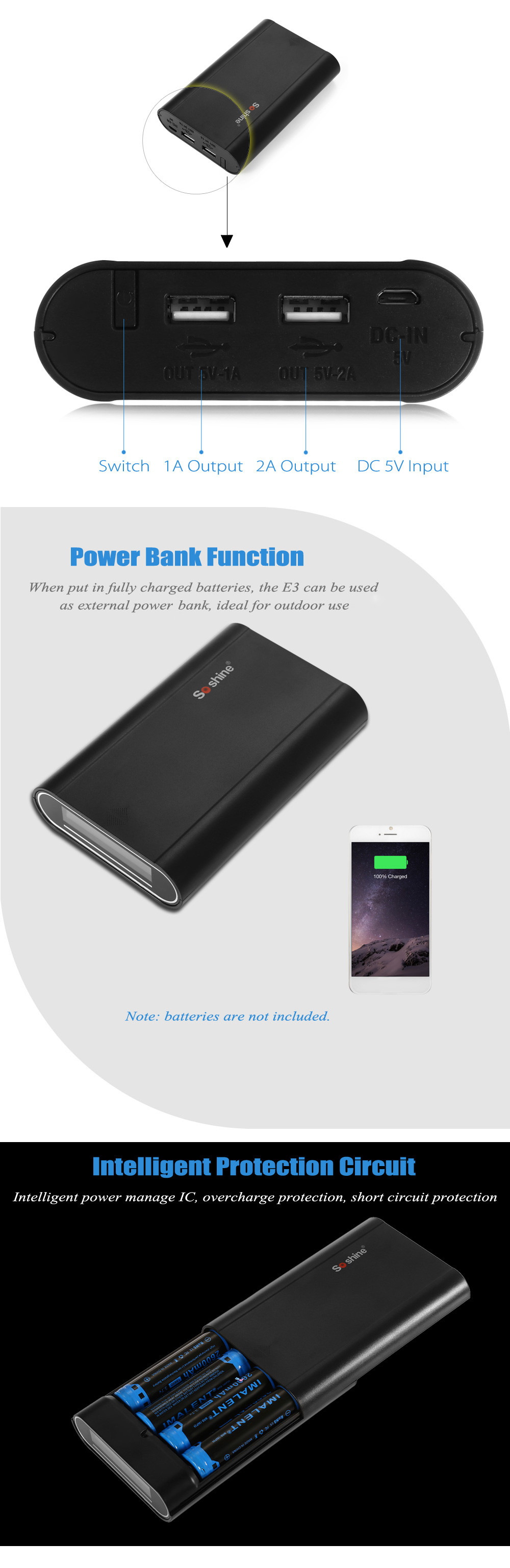 Soshine E3 Portable USB 18650 Li-ion Battery Charger LCD Mobile Power Bank Case