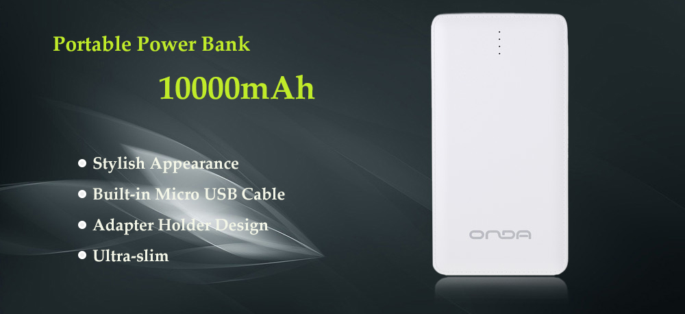 Onda M100T 10000mAh Portable Power Bank with LED Indicators Built-in Micro USB Connector Cable
