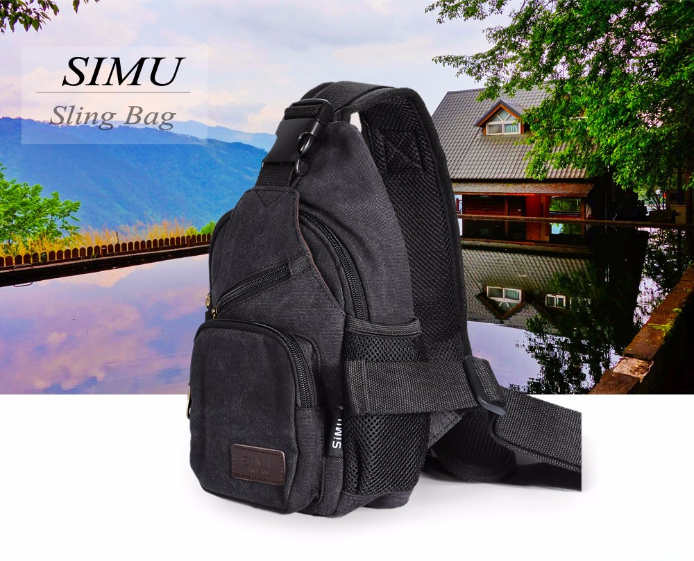 SIMU 1611 4L Canvas Sling Bag with Polyester Lining