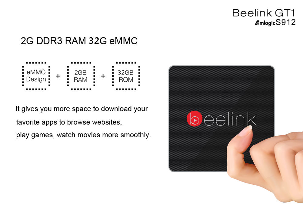 Beelink GT1 TV Box Amlogic S912 Octa Core H.265 Android 6.0 2.4G + 5.8G Dual WiFi Bluetooth 4.0