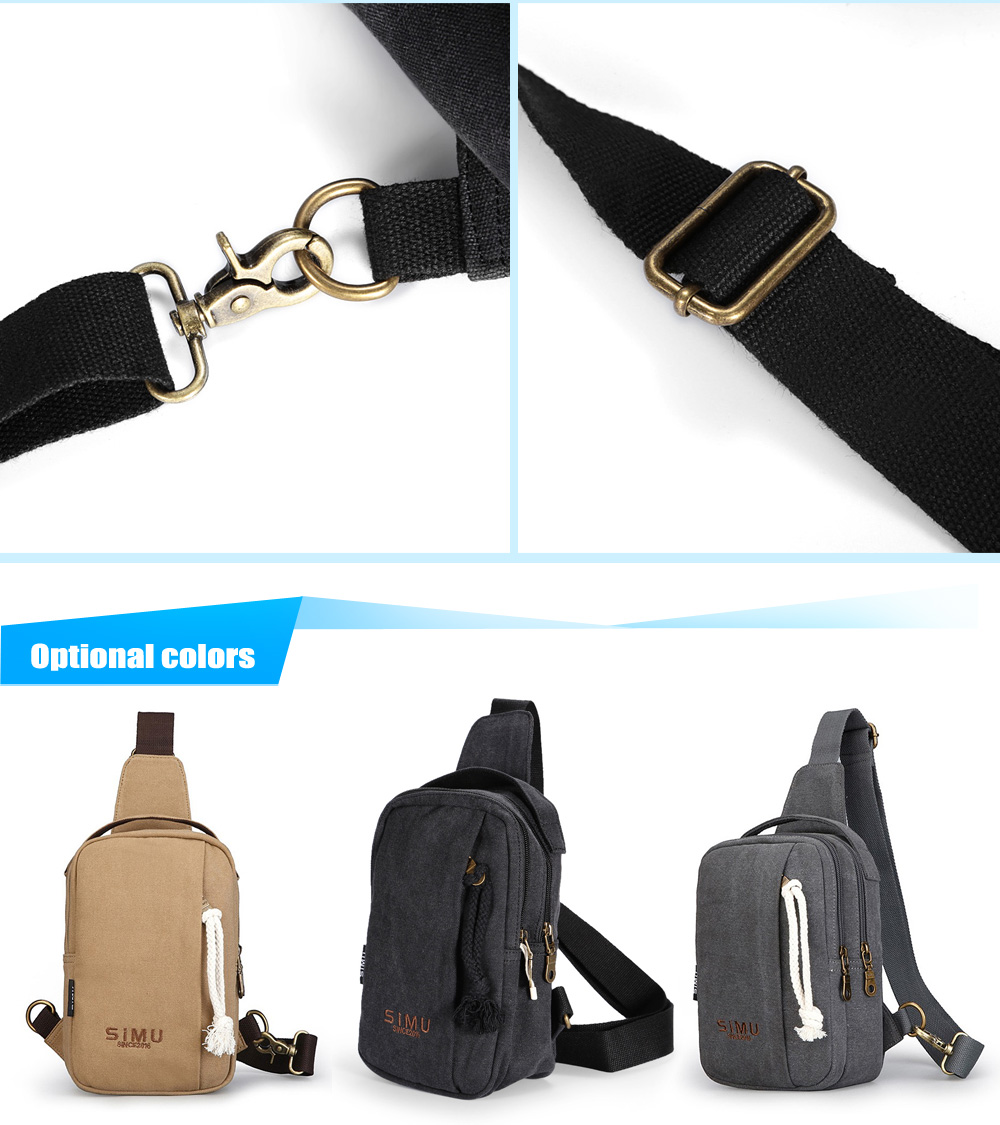 SIMU 1607 4L Canvas Sling Bag with Polyester Lining