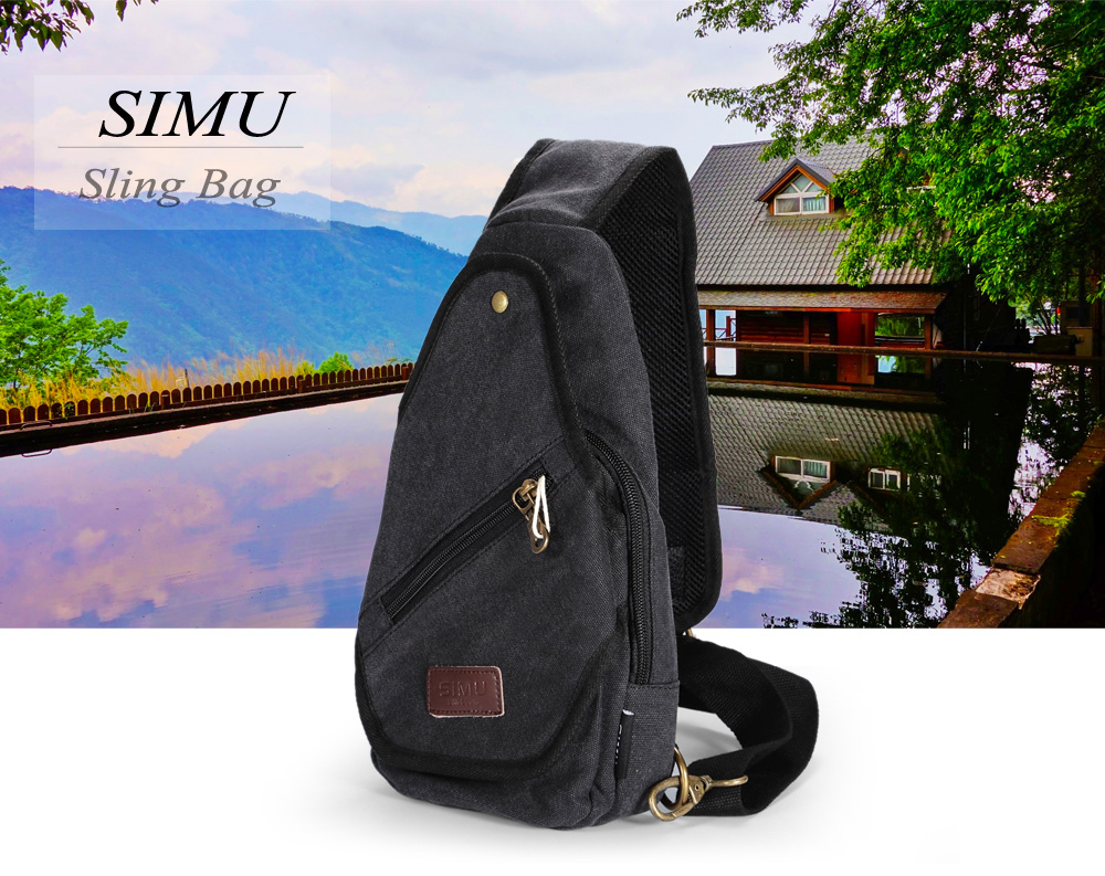 SIMU 1605 5.5L Canvas Sling Bag with Polyester Lining
