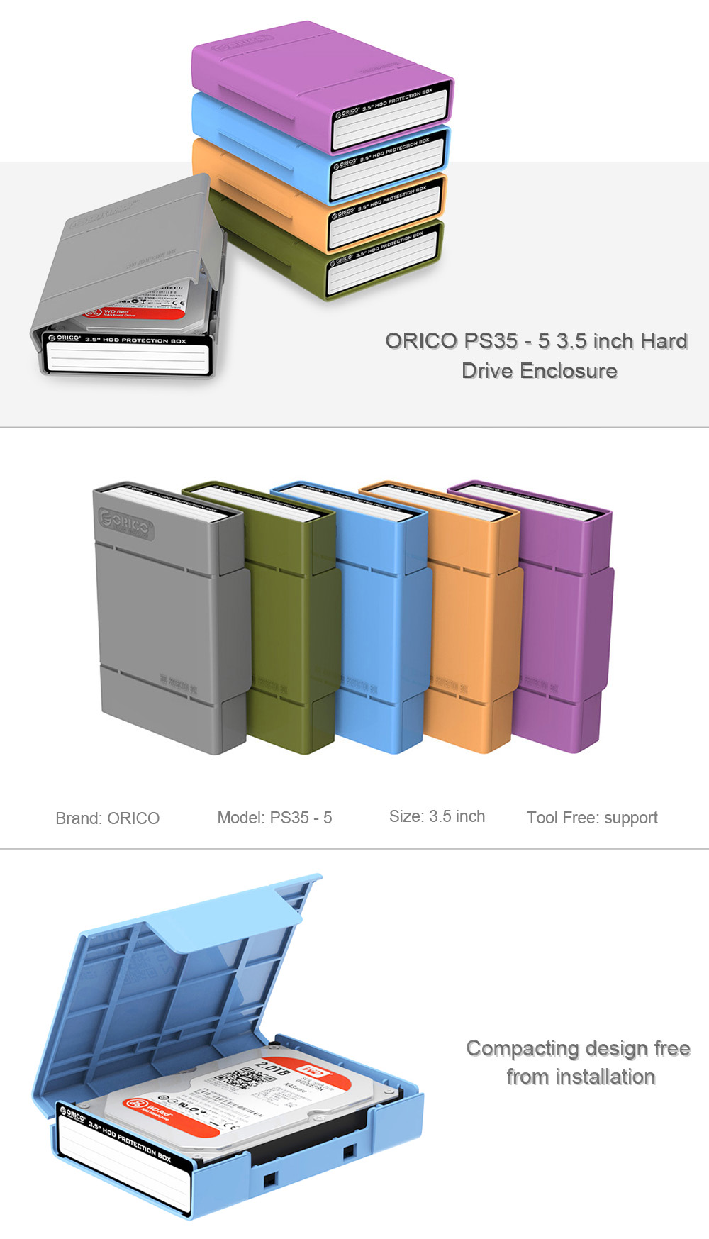 ORICO PS35 - 5 3.5 inch Hard Drive Enclosure Tool Free Installation 5PCS