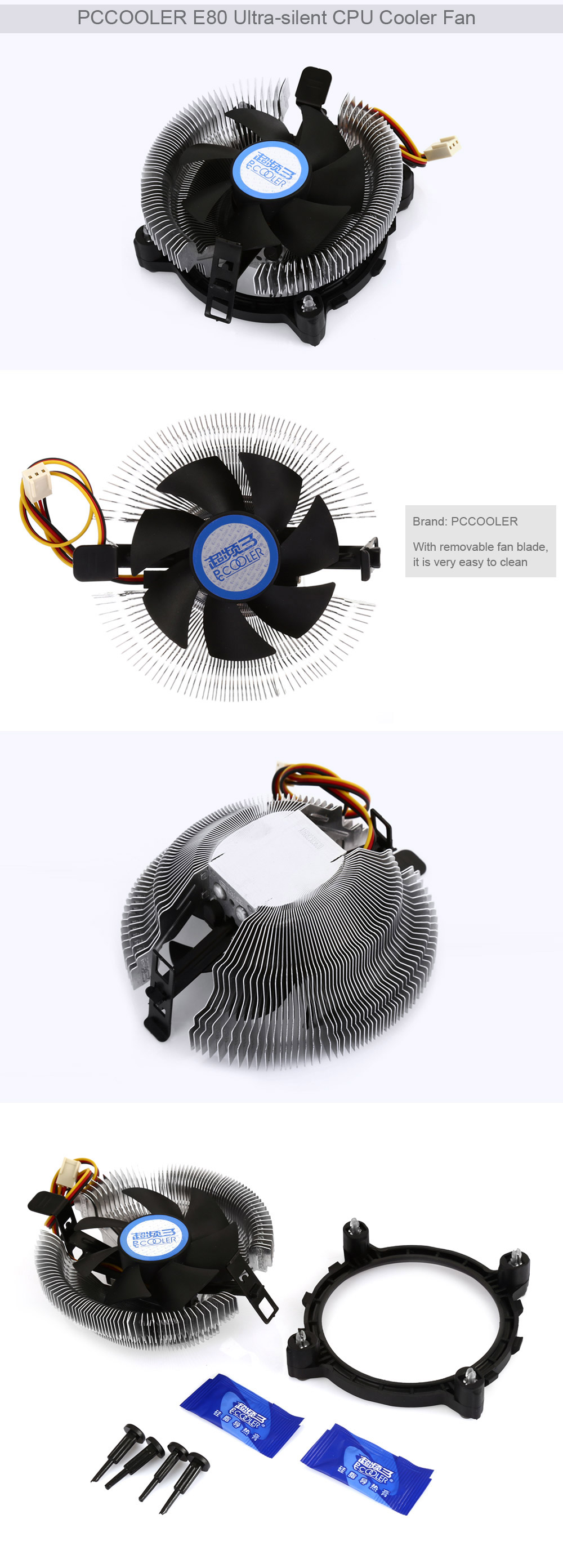 PCCOOLER E80 CPU Cooling Fan Compatible with Intel / AMD