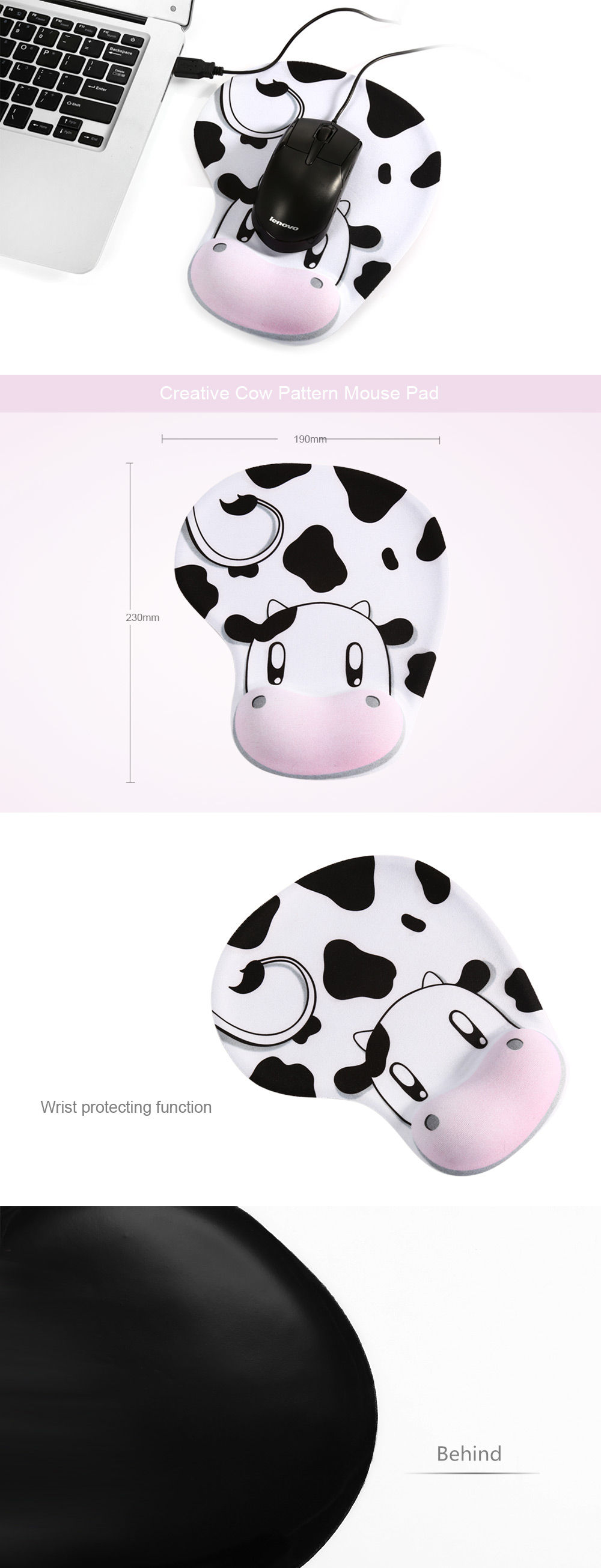 Cow Pattern Slip-proof Mouse Pad with Wrist Protecting Function