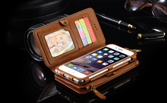 FLOVEME Nostalgia PU Leather Wallet Phone Case for iPhone 6 Plus / 6S Plus / 7 Plus Detachable Shell Mobile Stand Card Slots