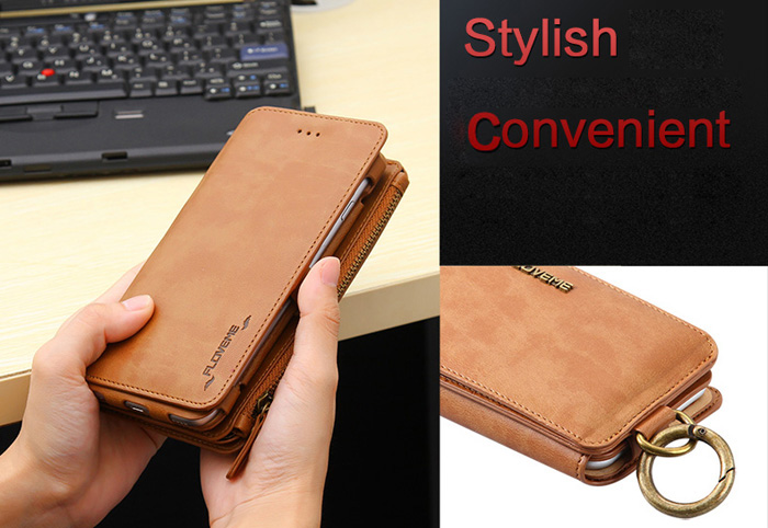 FLOVEME Nostalgia PU Leather Wallet Phone Case for iPhone 6 / 6S / 7 Detachable Shell Mobile Stand Card Slots