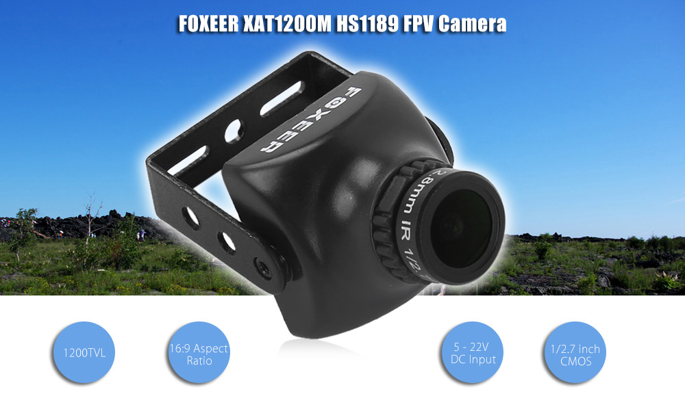 FOXEER HS1189 XAT1200M 2.8mm 1200TVL 5 - 22V DC 16:9 CMOS Camera for FPV Racing Drones