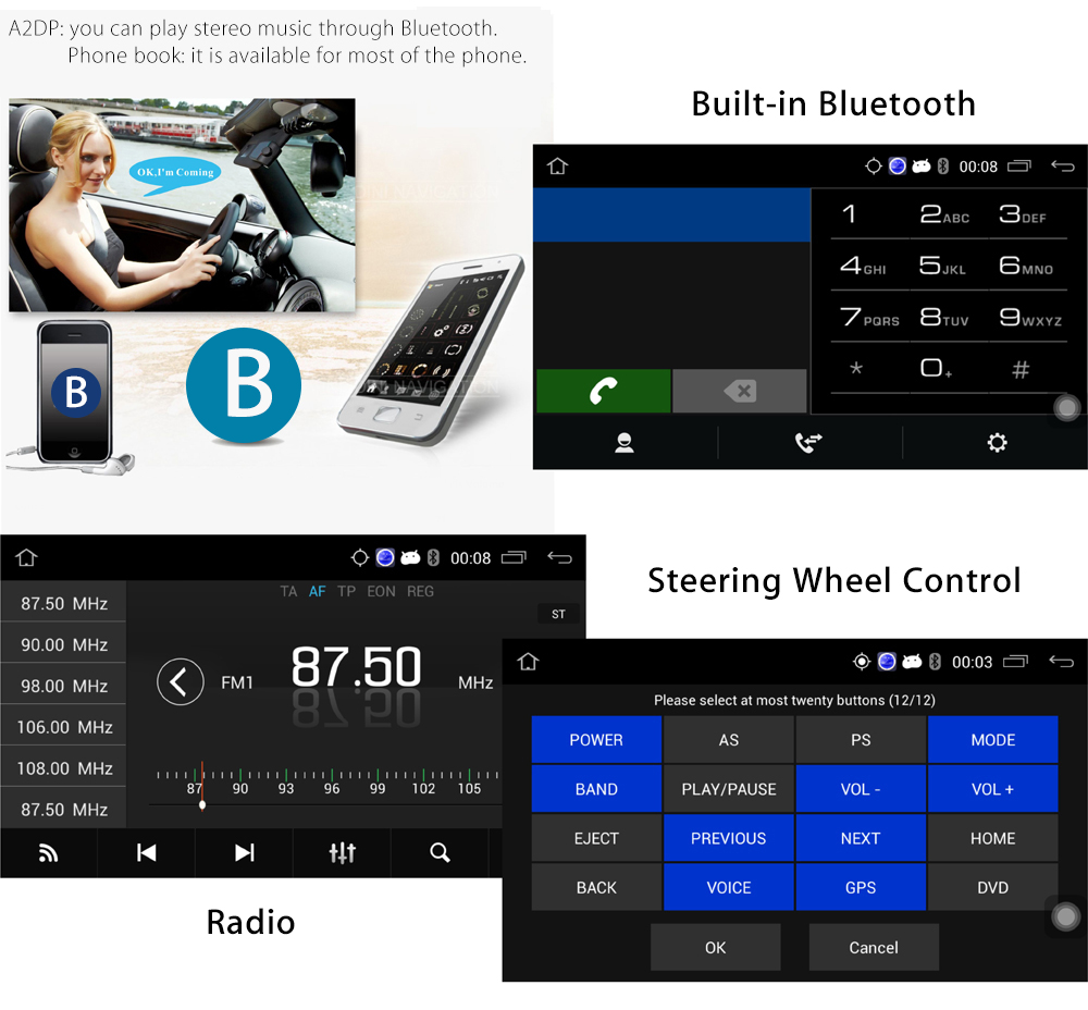 Ezonetronics RM - CT0009 7 inch Touch-screen Car Player GPS Support Bluetooth Steering Wheel Control