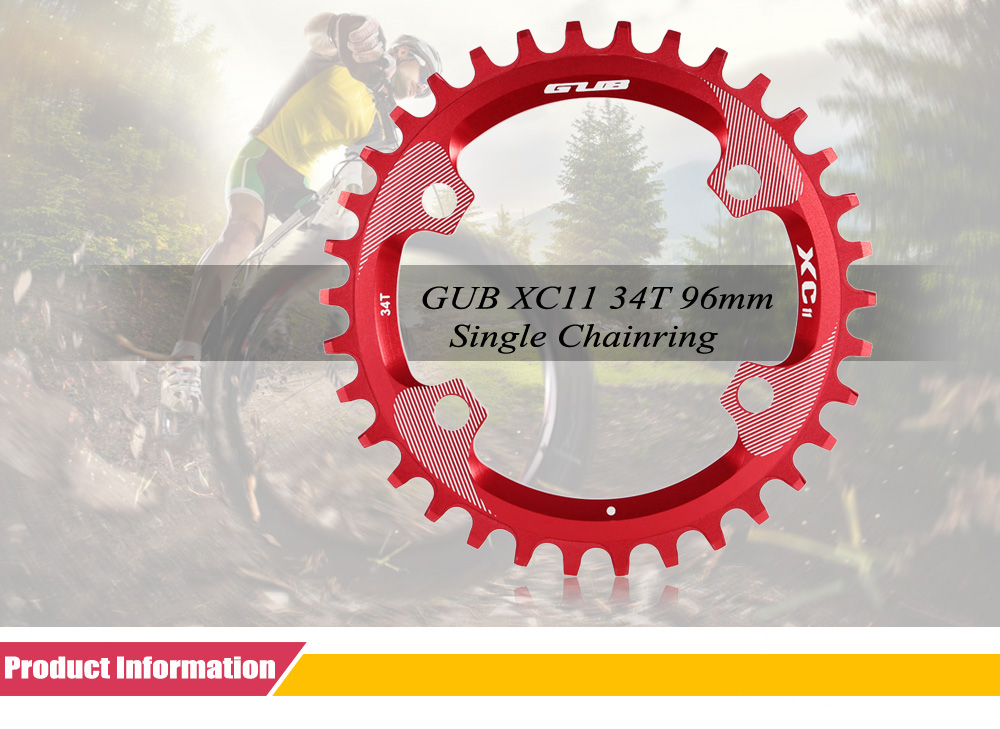 GUB XC11 34T MTB Road Bike Narrow Wide Chain Ring 96mm Round Single Chainring Bicycle Speed Sprocket Cycling Accessories