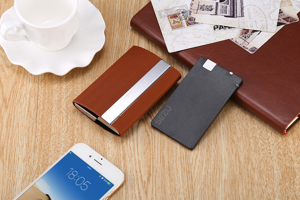 SEZU UW - E06 Double Open Card Case 1500mAh Portable Power Bank Net Pattern Leather Wrapping